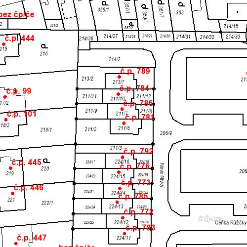 Katastrální mapa Stavební objekt Bohunice 781, Brno
