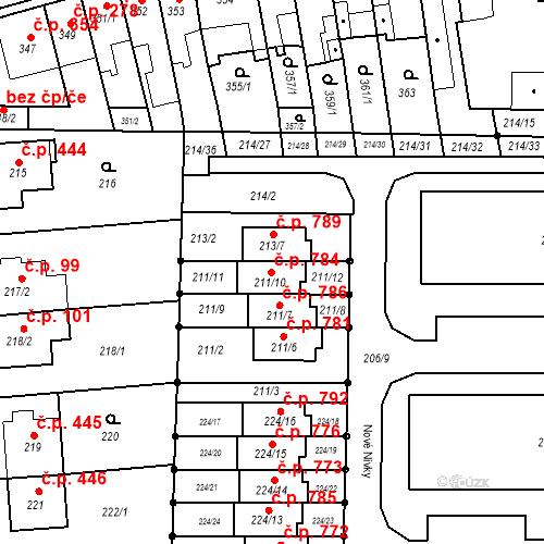 Katastrální mapa Stavební objekt Bohunice 784, Brno