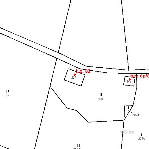 Katastrální mapa Stavební objekt Žampach 82, Žampach