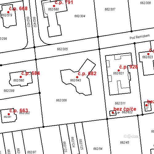 Katastrální mapa Stavební objekt Moravany 682, Moravany