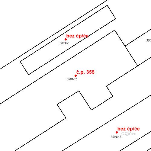 Katastrální mapa Stavební objekt Kuřim 355, Kuřim
