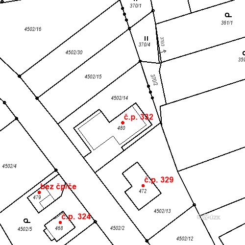 Katastrální mapa Stavební objekt Křinice 332, Křinice