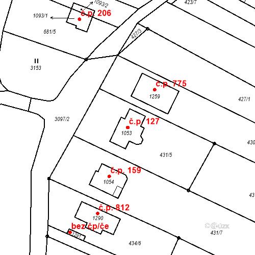 Katastrální mapa Stavební objekt Vranovice 127, Vranovice