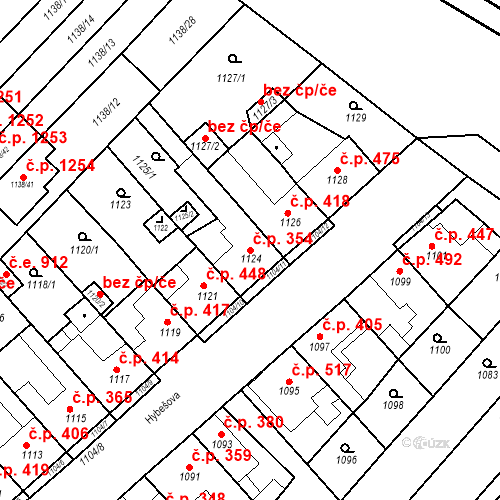 Katastrální mapa Stavební objekt Kuřim 354, Kuřim