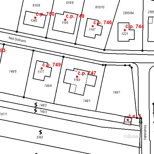 Katastrální mapa Stavební objekt Vranovice 747, Vranovice