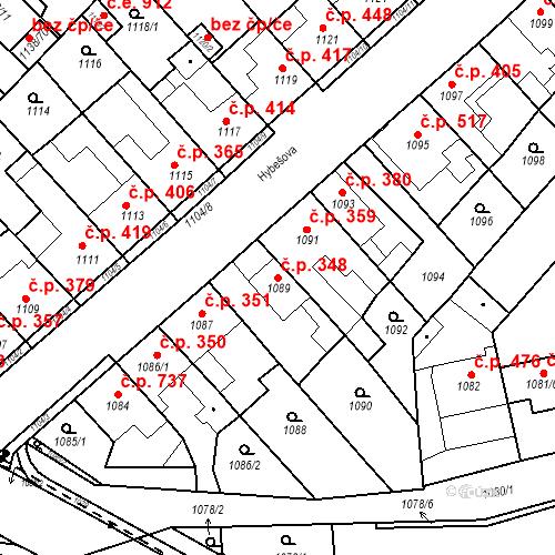 Katastrální mapa Stavební objekt Kuřim 348, Kuřim