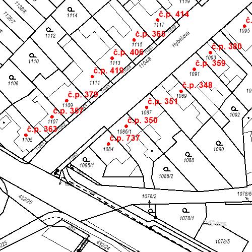 Katastrální mapa Stavební objekt Kuřim 350, Kuřim