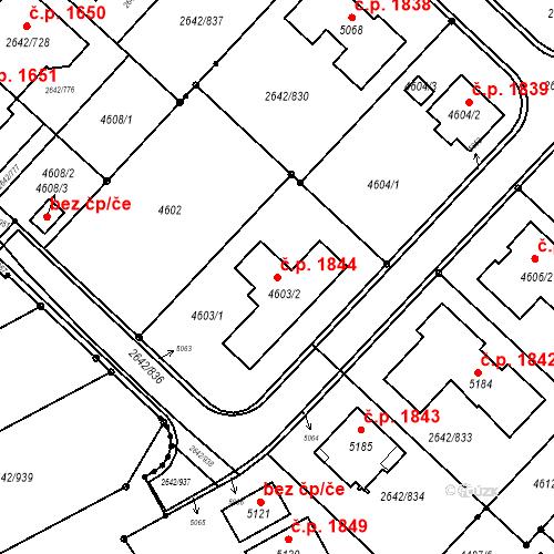 Katastrální mapa Stavební objekt Kuřim 1844, Kuřim