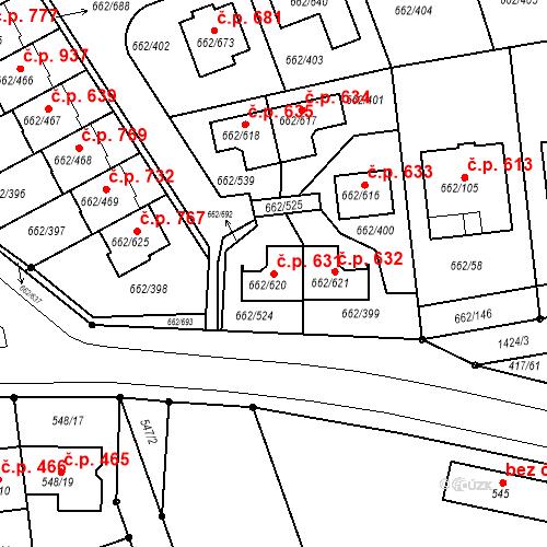 Katastrální mapa Stavební objekt Moravany 631, Moravany