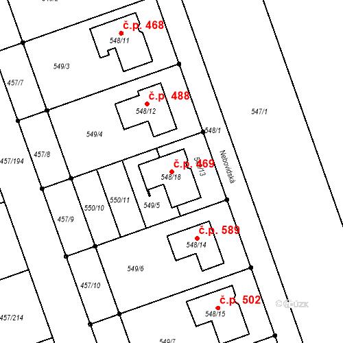 Katastrální mapa Stavební objekt Moravany 469, Moravany