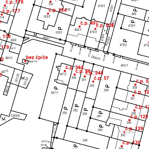 Katastrální mapa Stavební objekt Nový Lískovec 56, Brno