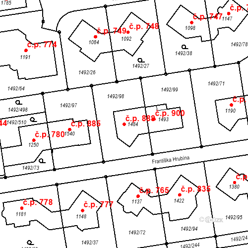 Katastrální mapa Stavební objekt Lány 888, Svitavy