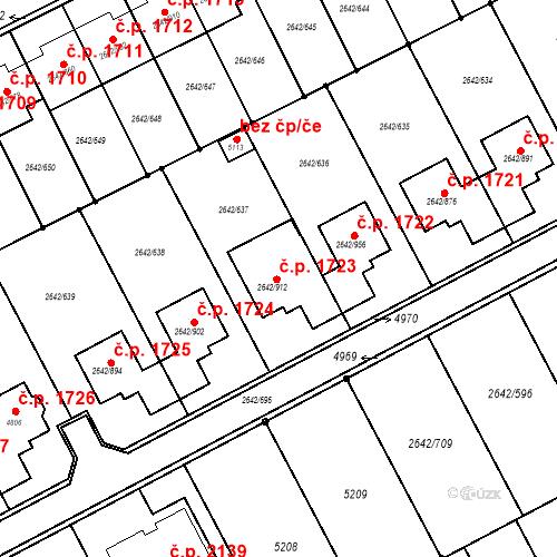 Katastrální mapa Stavební objekt Kuřim 1723, Kuřim