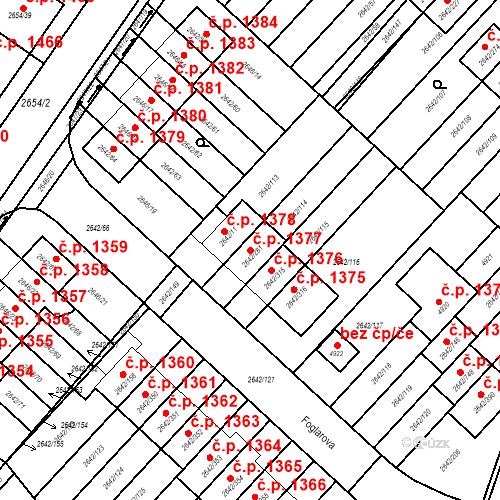 Katastrální mapa Stavební objekt Kuřim 1377, Kuřim