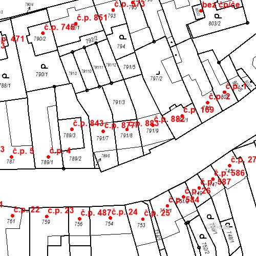 Katastrální mapa Stavební objekt Jundrov 883, Brno
