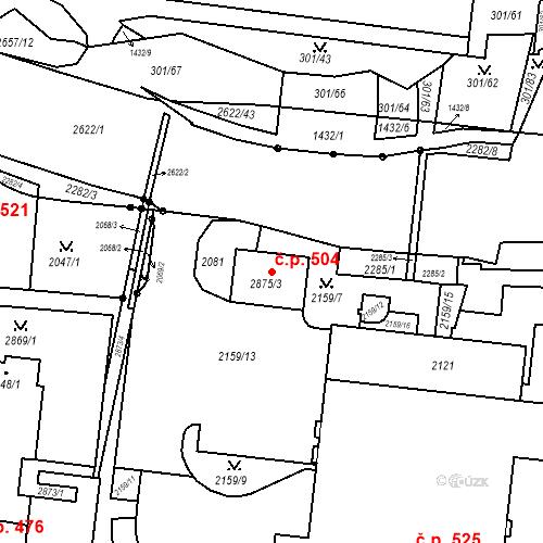 Katastrální mapa Stavební objekt Nový Lískovec 504, Brno
