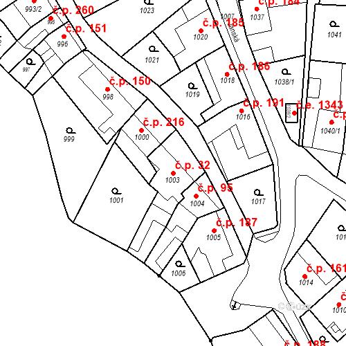 Katastrální mapa Stavební objekt Kuřim 32, Kuřim