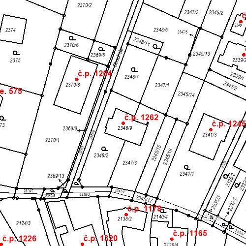 Katastrální mapa Stavební objekt Komín 1262, Brno