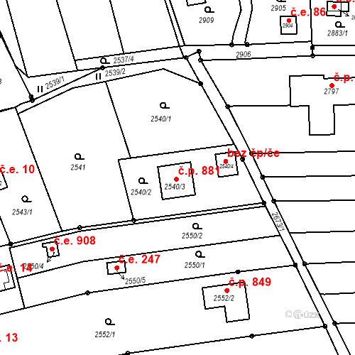 Katastrální mapa Stavební objekt Jundrov 881, Brno