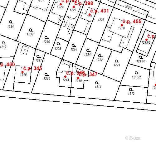 Katastrální mapa Stavební objekt Kuřim 347, Kuřim