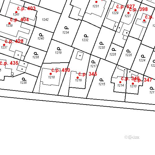 Katastrální mapa Stavební objekt Kuřim 345, Kuřim