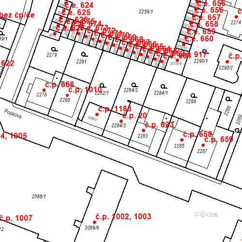 Katastrální mapa Stavební objekt Kuřim 20, Kuřim
