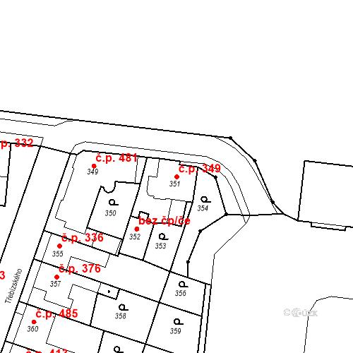 Katastrální mapa Stavební objekt Kuřim 349, Kuřim