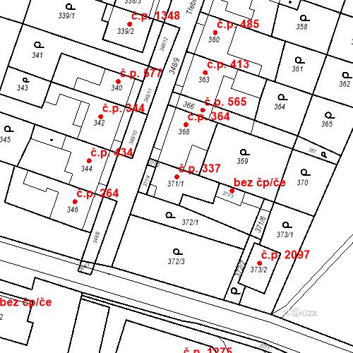 Katastrální mapa Stavební objekt Kuřim 337, Kuřim