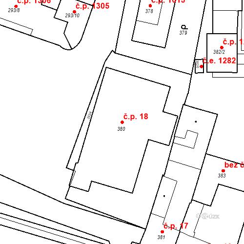 Katastrální mapa Stavební objekt Kuřim 18, Kuřim