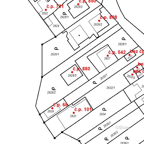 Katastrální mapa Stavební objekt Jundrov 880, Brno