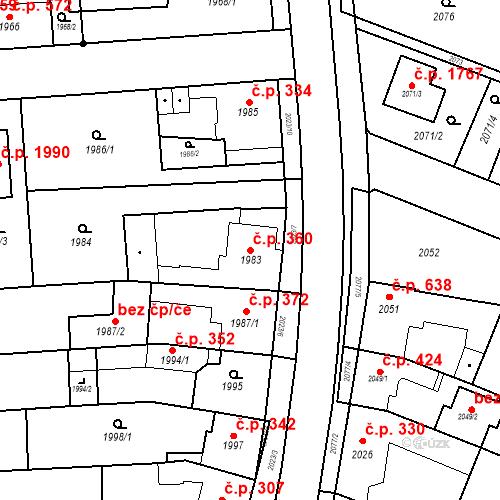 Katastrální mapa Stavební objekt Kuřim 360, Kuřim