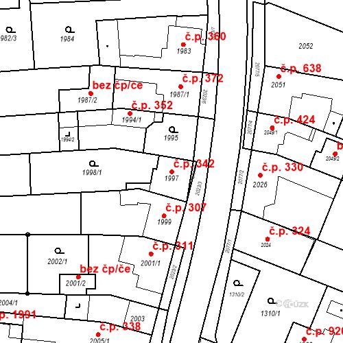 Katastrální mapa Stavební objekt Kuřim 342, Kuřim