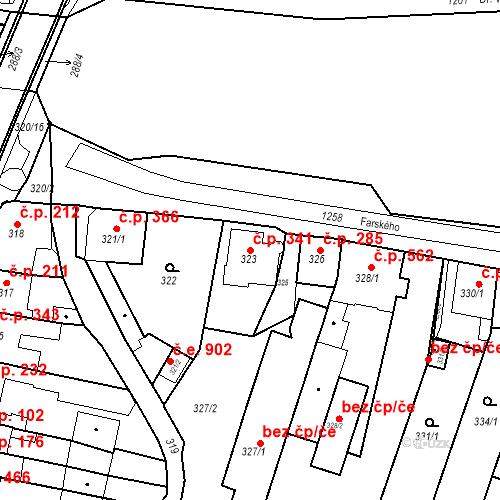 Katastrální mapa Stavební objekt Kuřim 341, Kuřim