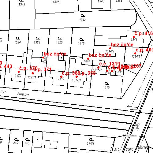 Katastrální mapa Stavební objekt Kuřim 358, Kuřim