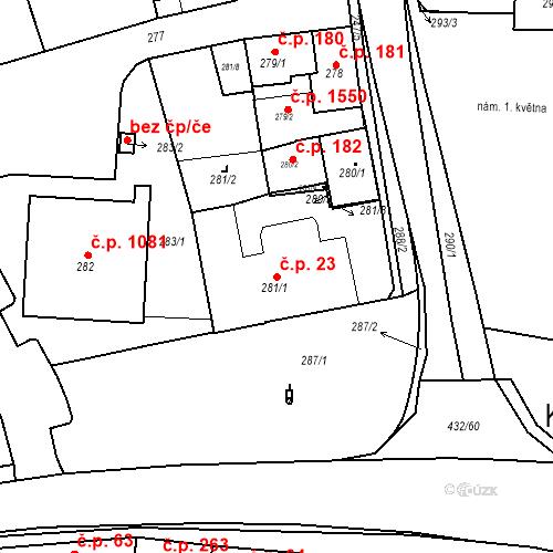 Katastrální mapa Stavební objekt Kuřim 23, Kuřim