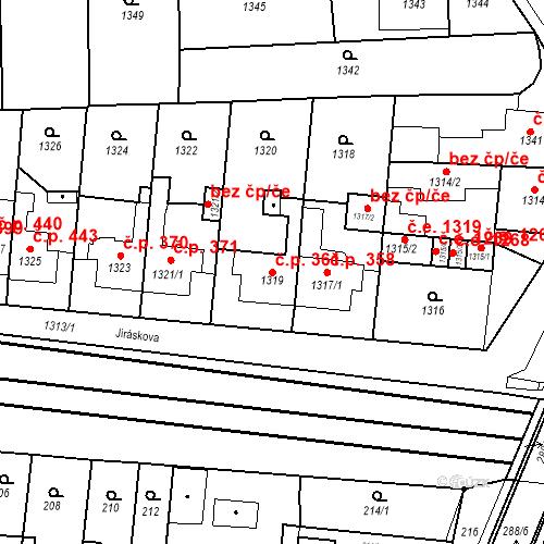 Katastrální mapa Stavební objekt Kuřim 361, Kuřim