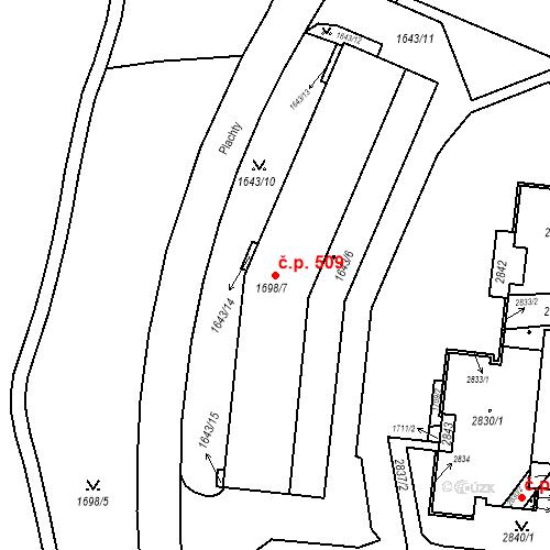 Katastrální mapa Stavební objekt Nový Lískovec 509, Brno