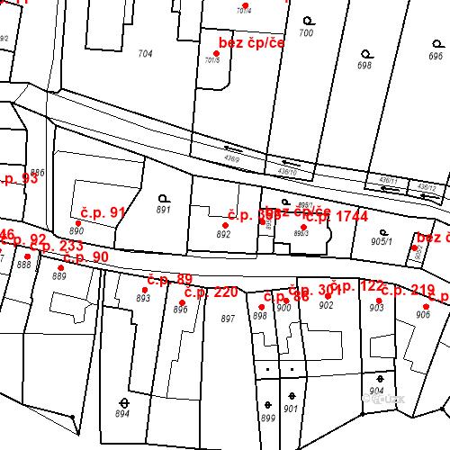 Katastrální mapa Stavební objekt Kuřim 353, Kuřim