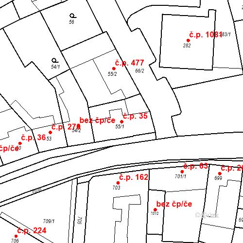 Katastrální mapa Stavební objekt Kuřim 35, Kuřim