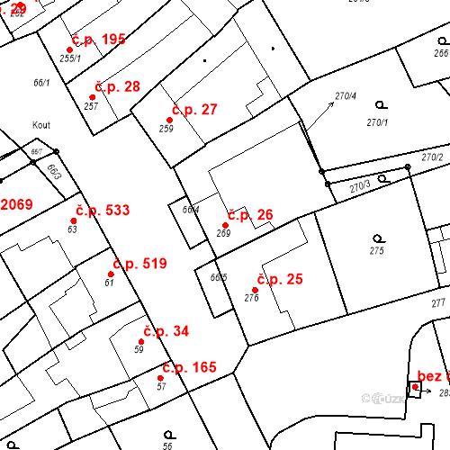 Katastrální mapa Stavební objekt Kuřim 26, Kuřim