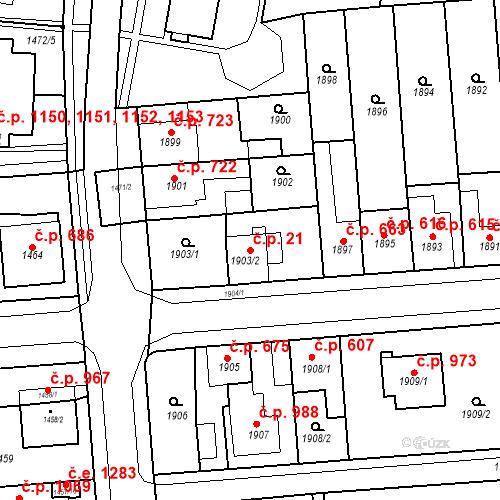 Katastrální mapa Stavební objekt Kuřim 21, Kuřim
