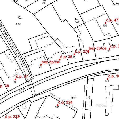 Katastrální mapa Stavební objekt Kuřim 36, Kuřim