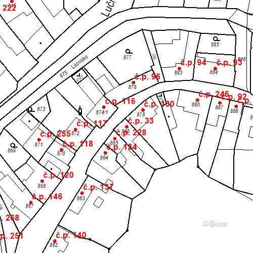 Katastrální mapa Stavební objekt Kuřim 33, Kuřim