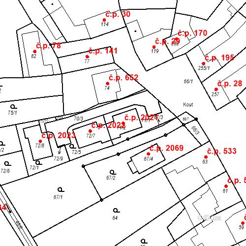 Katastrální mapa Stavební objekt Kuřim 2021, Kuřim