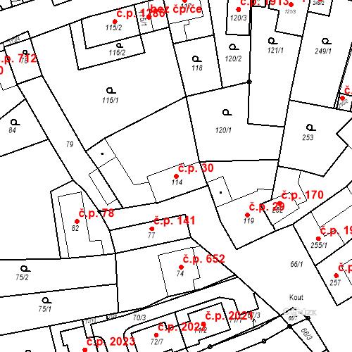 Katastrální mapa Stavební objekt Kuřim 30, Kuřim