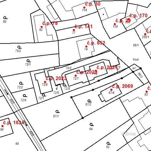 Katastrální mapa Stavební objekt Kuřim 2022, Kuřim