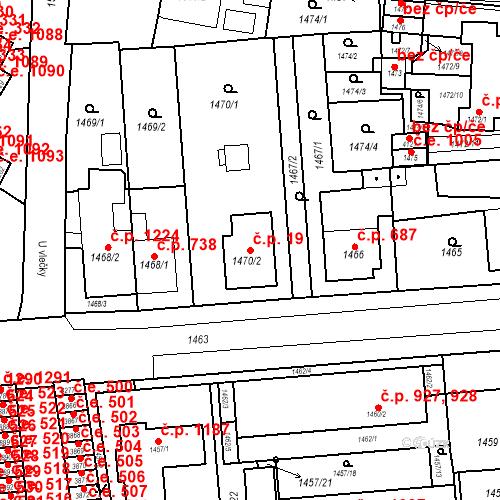 Katastrální mapa Stavební objekt Kuřim 19, Kuřim