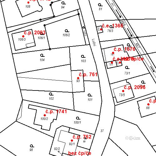 Katastrální mapa Stavební objekt Kuřim 761, Kuřim