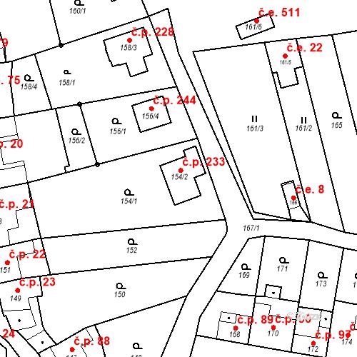 Katastrální mapa Stavební objekt Jinačovice 233, Jinačovice