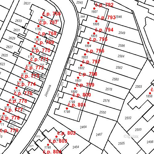 Katastrální mapa Stavební objekt Kohoutovice 798, Brno